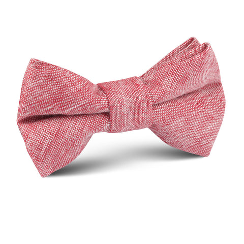 Light Red Chambray Linen Kids Bow Tie