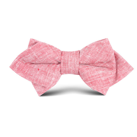 Light Red Chambray Linen Kids Diamond Bow Tie