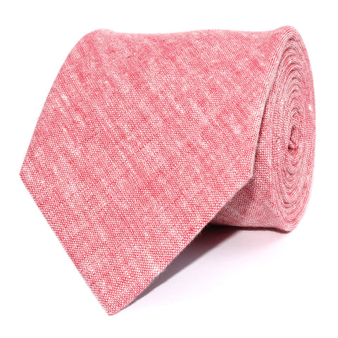 Light Red Chambray Linen Necktie