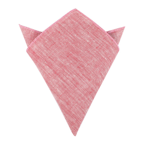 Light Red Chambray Linen Pocket Square