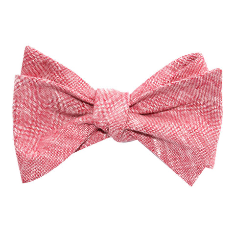 Light Red Chambray Linen Self Tie Bow Tie