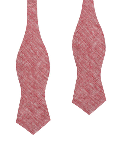 Light Red Chambray Linen Self Tie Diamond Bow Tie