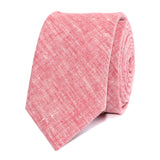 Light Red Chambray Linen Skinny Tie Front