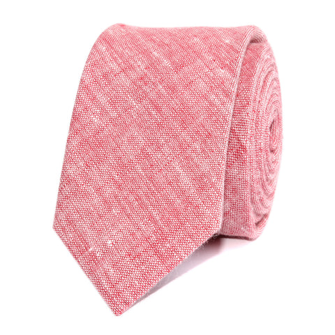 Light Red Chambray Linen Skinny Tie
