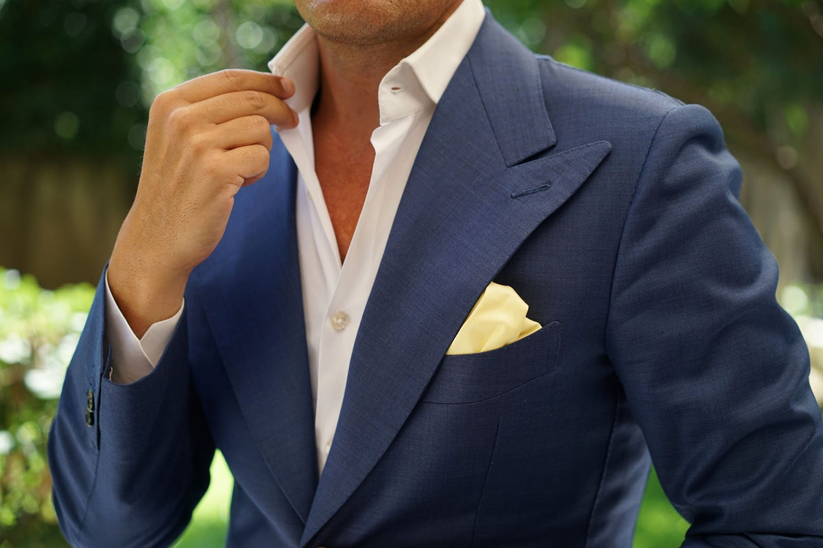Light Yellow Satin Pocket Square