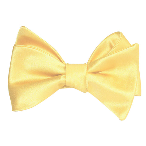 Light Yellow Satin Self Tie Bow Tie