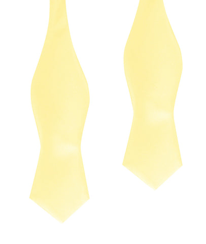 Light Yellow Satin Self Tie Diamond Tip Bow Tie