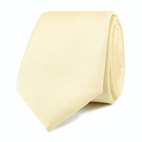 Light Yellow Satin Skinny Tie