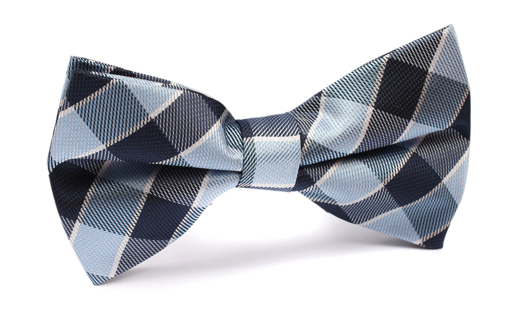 Light and Navy Blue Checkered Bow Tie