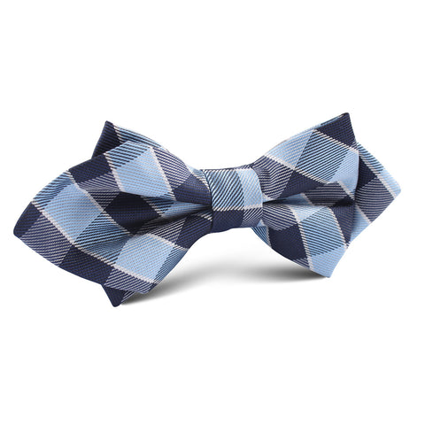 Light and Navy Blue Checkered Diamond Bow Tie