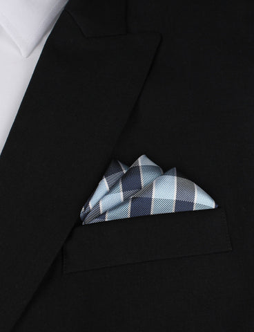 Light and Navy Blue Checkered Pocket Square