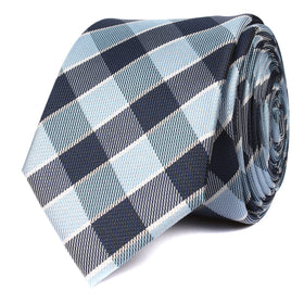 Light and Navy Blue Checkered Skinny Tie