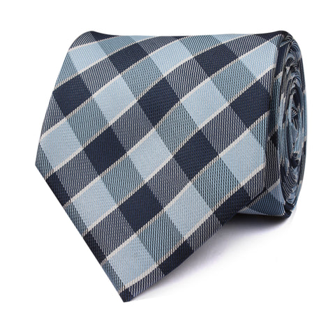Light and Navy Blue Checkered Tie