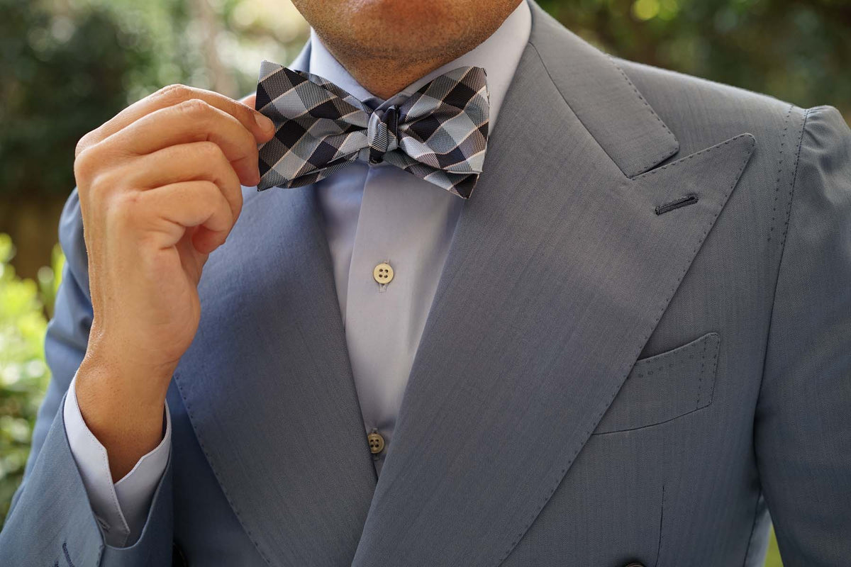 Light and Navy Blue Checkered Bow Tie Untied