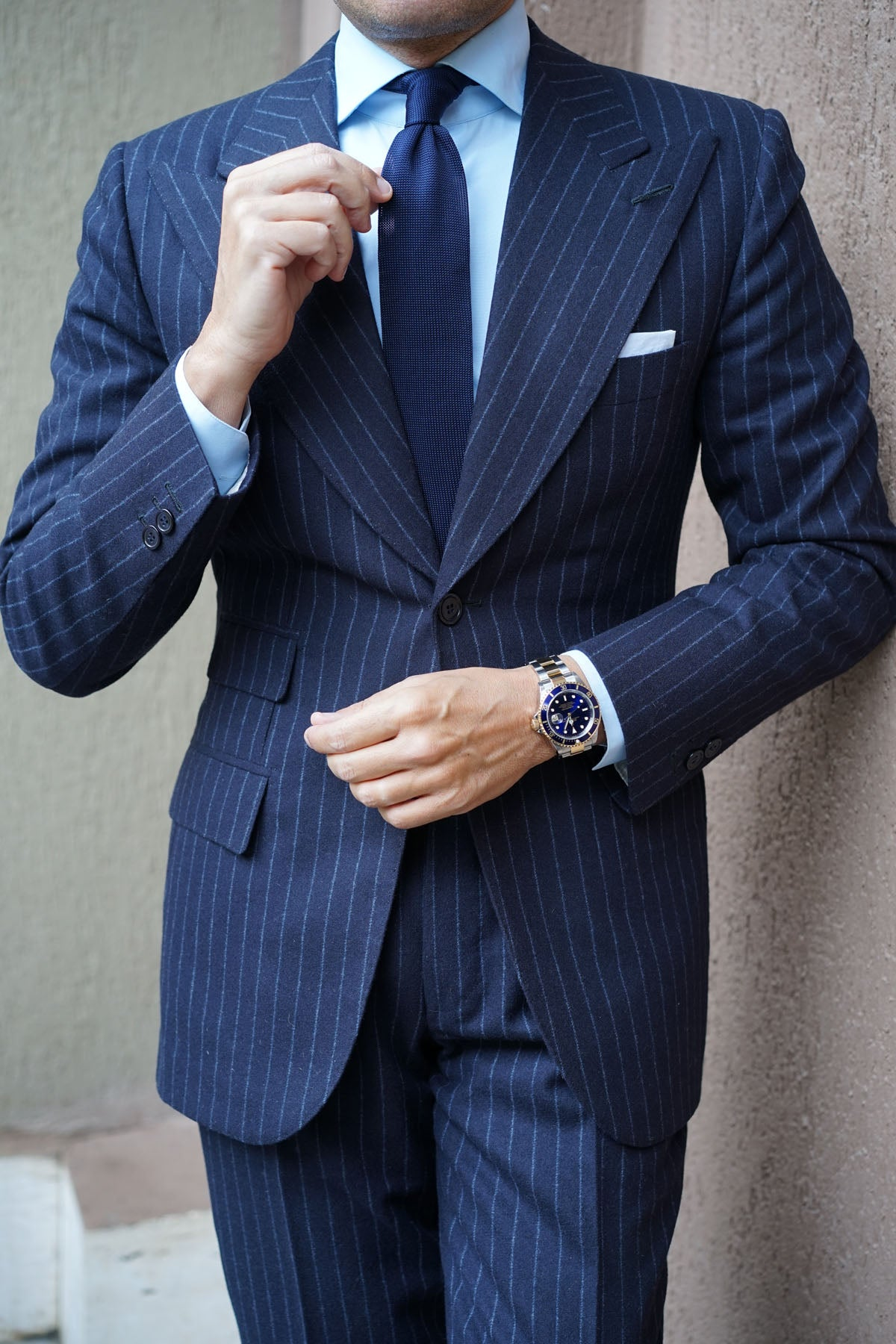 Liszt Navy Knitted Tie