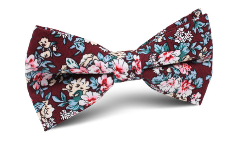 London Brown Floral Bow Tie