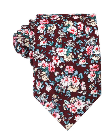 London Brown Floral Necktie