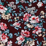 London Brown Floral Pocket Square Fabric
