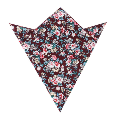 London Brown Floral Pocket Square