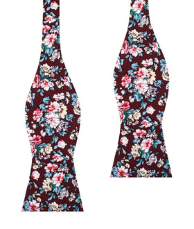London Brown Floral Self Bow Tie