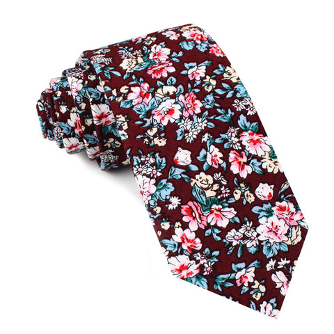 London Brown Floral Skinny Tie