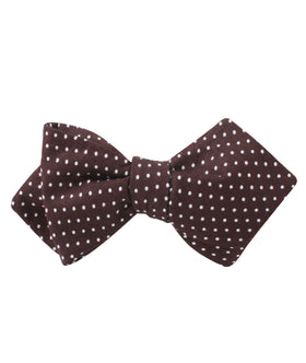 Lungo Brown Polkadot Cotton Diamond Self Bow Tie