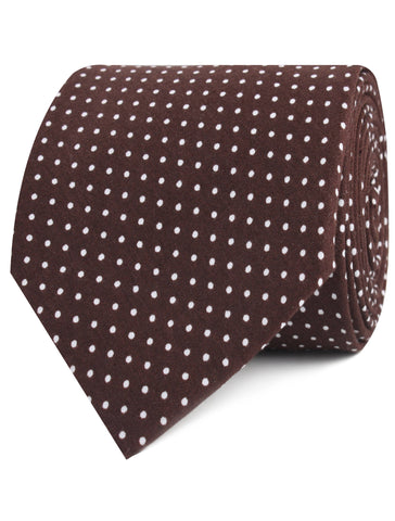Lungo Brown Polkadot Cotton Tie