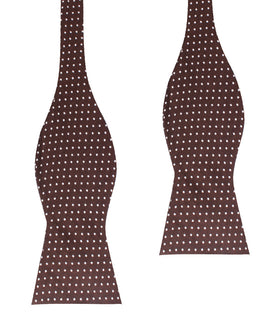 Lungo Brown Polkadot Cotton Self Bow Tie