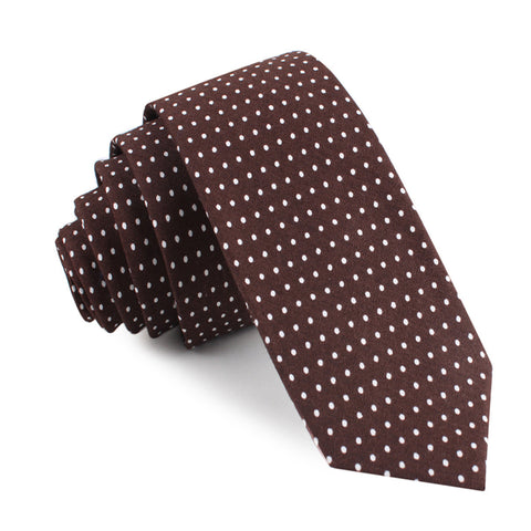 Lungo Brown Polkadot Cotton Skinny Tie