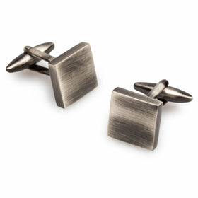 Luxor Brushed Silver Square Cufflinks