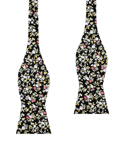 Madagascar Black Floral Self Bow Tie