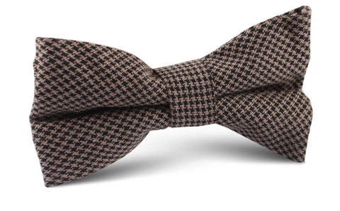 Madrid Brown Houndstooth Bow Tie