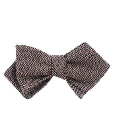 Madrid Brown Houndstooth Diamond Self Bow Tie
