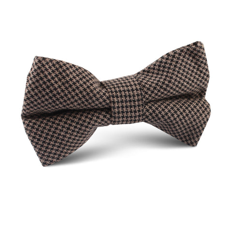 Madrid Brown Houndstooth Kids Bow Tie