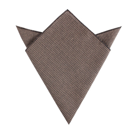 Madrid Brown Houndstooth Pocket Square