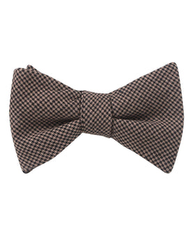 Madrid Brown Houndstooth Self Bow Tie