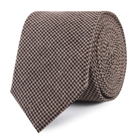 Madrid Brown Houndstooth Skinny Tie