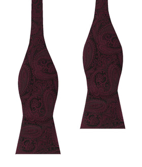 Mahogany Red Paisley Self Bow Tie