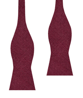 Mahogany Wine Linen Twill Self Bow Tie