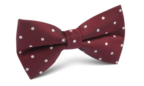 Mahogany Maroon with White Polka Dots Bow Tie