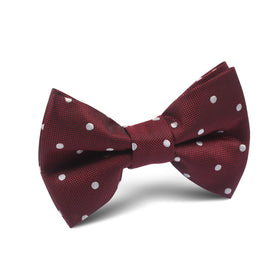 Mahogany Maroon with White Polka Dots Kids Bow Tie