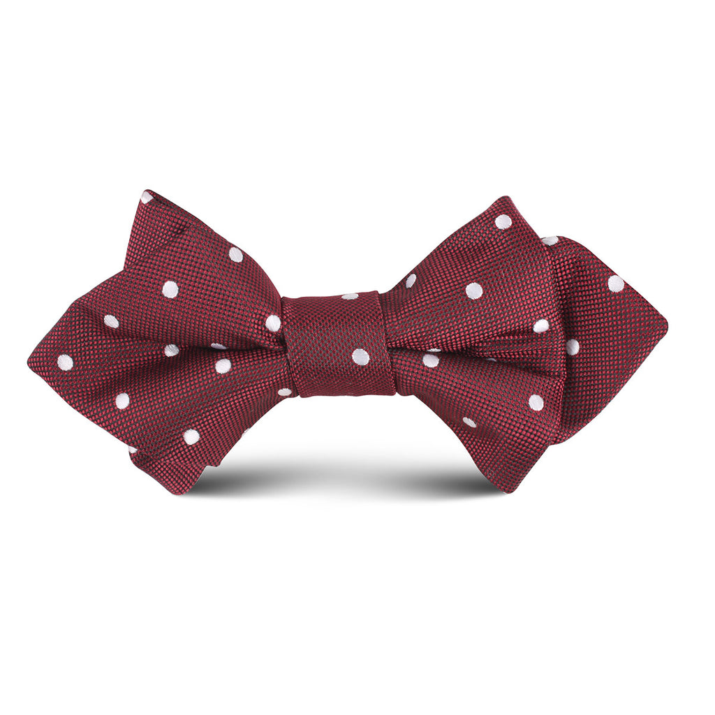 Mahogany Maroon with White Polka Dots Kids Diamond Bow Tie