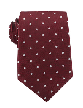Mahogany Maroon with White Polka Dots Necktie