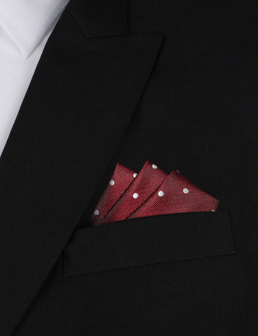 Mahogany Maroon with White Polka Dots Pocket Square