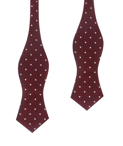 Mahogany Maroon with White Polka Dots Self Tie Diamond Tip Bow Tie