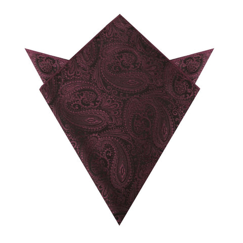 Mahogany Red Paisley Pocket Square