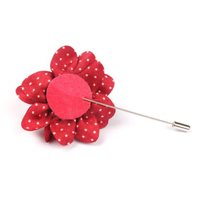 Makybe Diva Maroon Lapel with White Polkadots Pin Front Boutonniere