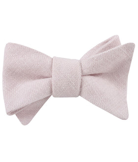 Maldivian Blush Pink Linen Self Bow Tie