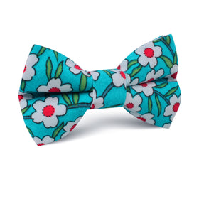 Maldivian Turquoise Floral Kids Bow Tie