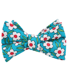 Maldivian Turquoise Floral Self Bow Tie